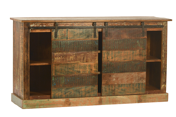 Rustic sideboard cabinet with barn doors and shelves