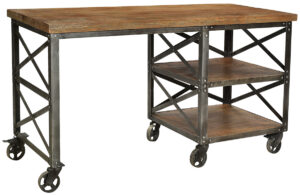Industrial Desk with Casters Wheels
