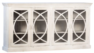 Swellow White Wood Glass Sideboard