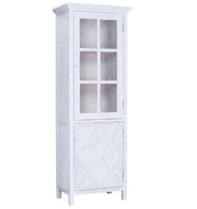 Santana Tall White Thin Glass Cabinet