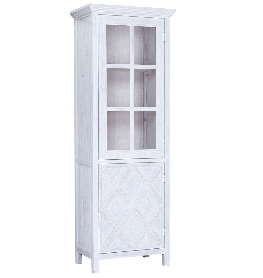 Santana Tall White Thin Glass Cabinet