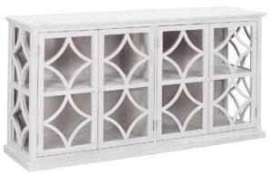 Rivera Whitewash Glass Sideboard