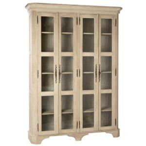 Wyne Rustic Cream Tall Glass Cabinet
