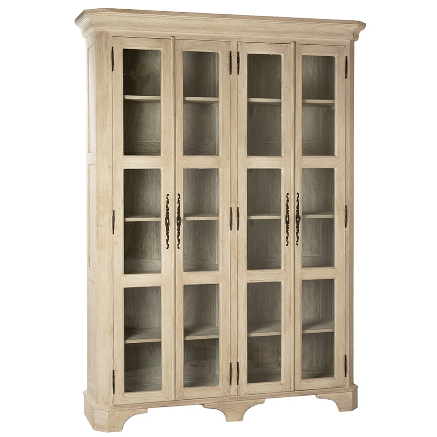 Wyne Rustic Cream Tall Glass Cabinet