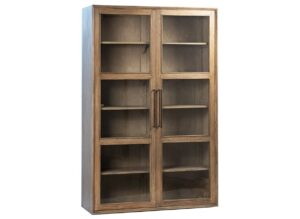 Galena Tall Wood Glass Cabinet