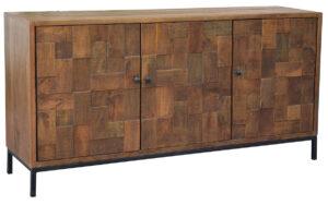 Reclaimed Mango Wood Media Cabinet with Iron Base