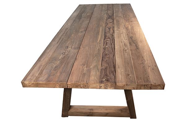 reclaimed teak wood dining table top view