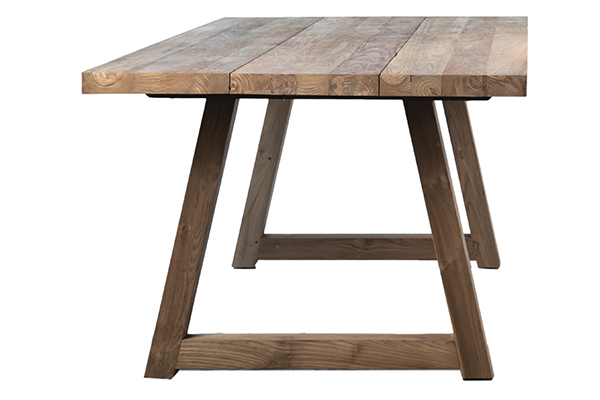 reclaimed teak wood outdoor dining table side view