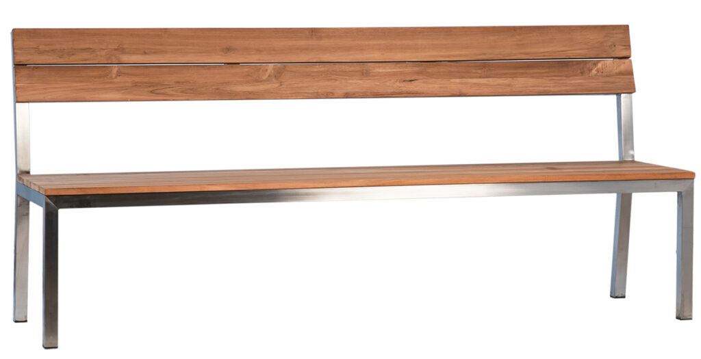 Drexel Teak and Stainless Steel Bench