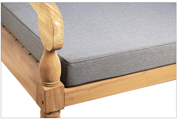 Outdoor teak daybed with cushion close up