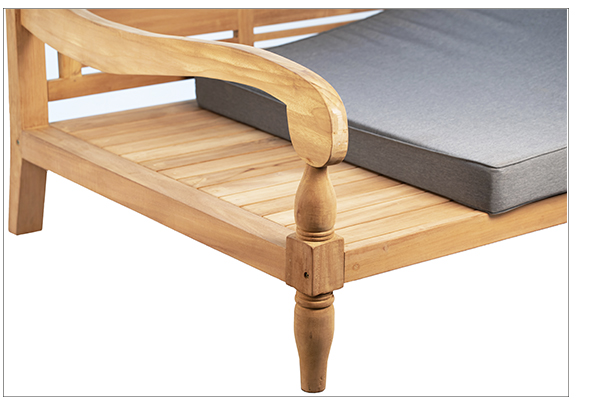 Outdoor teak daybed with cushion seat close up