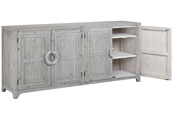 grey wash wood sideboard with open doors