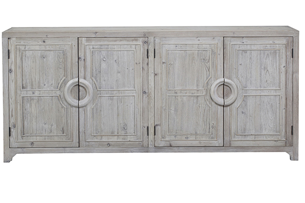 grey wash wood sideboard front view