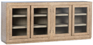 Suffolk Light White Wash Wood Glass Cabinet