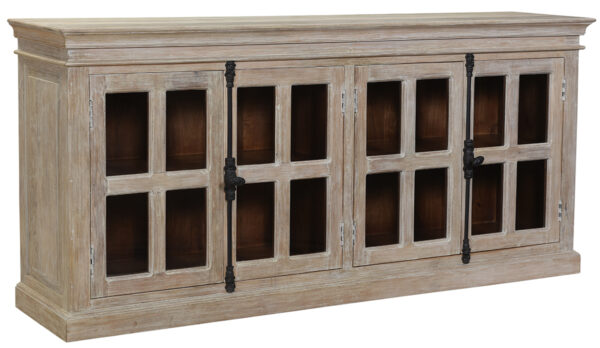 white wash wood sideboard with glass doors