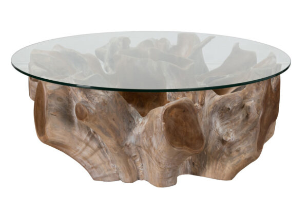 Root coffee table with round glass