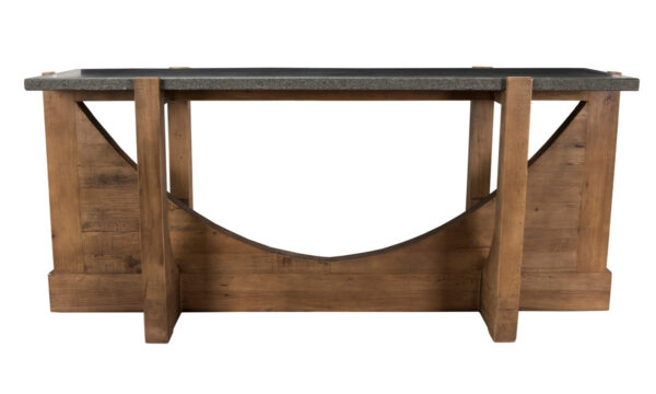 Wood console table with stone top front view