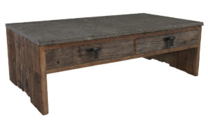 Ellen Rustic Wood and Blue Stone Top Coffee Table