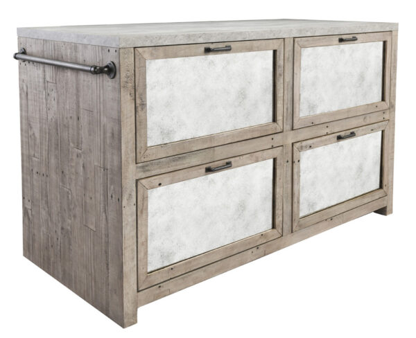 light wood and concrete island cabinet