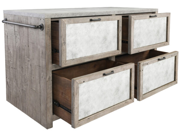 light wood and concrete island cabinet with open doors