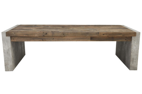 Rectangular wood and cement coffee table front view