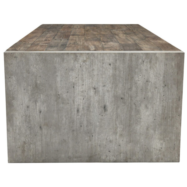 Rectangular Wood and Cement Coffee Table Side View