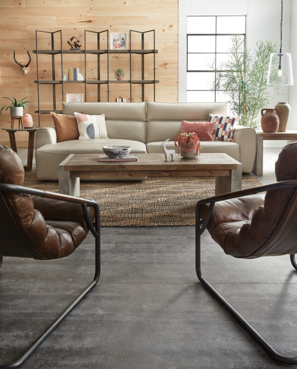 Rectangular Wood and Cement Coffee Table In Living Room Setting