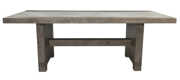 Gray wash wood dining table with concrete top profile view