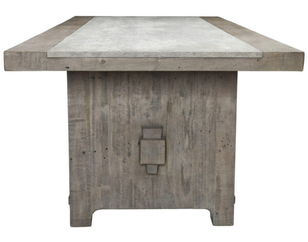 Gray wash wood dining table with concrete top side view