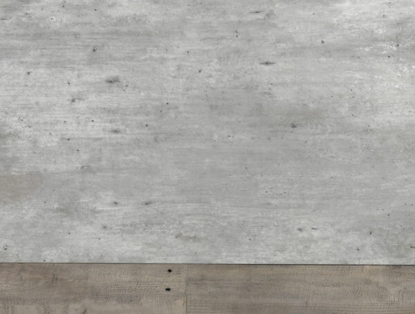 Gray wash wood dining table concrete top view