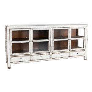 Grant White Washed Glass Cabinet