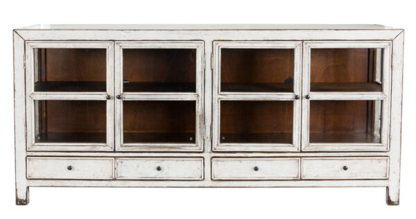 white wood glass cabinet front view
