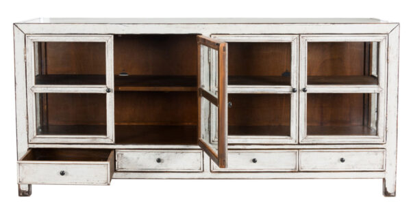 white wood glass cabinet with open doors