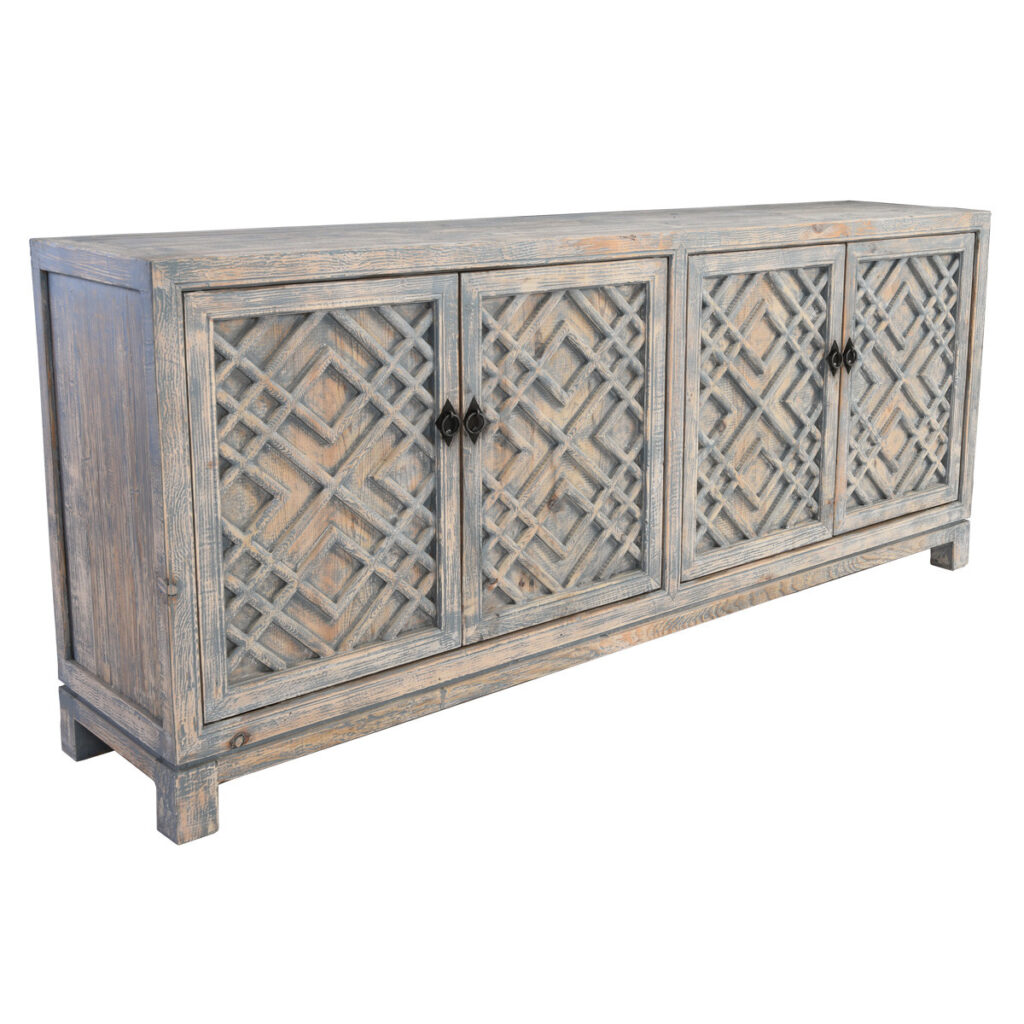 Antigua Distress Blue Wood Sideboard