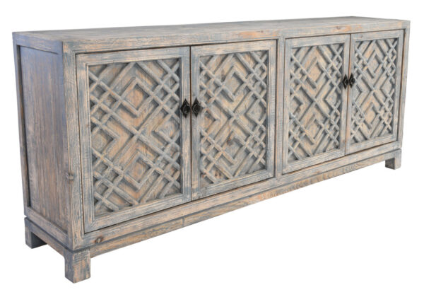 light distressed blue wood sideboard