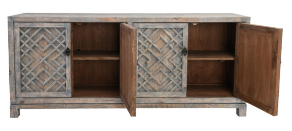 light distressed blue wood sideboard with open doors