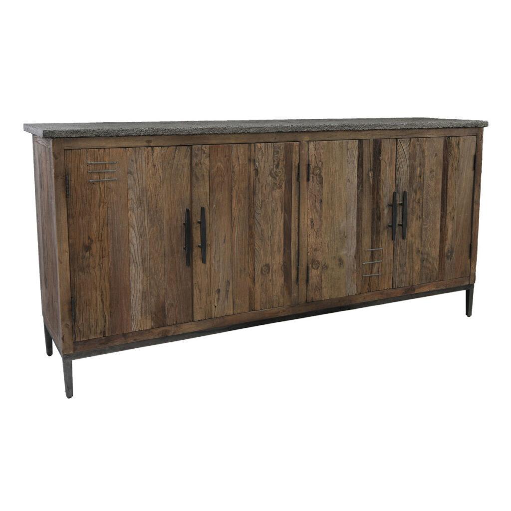 Ellen Reclaimed Wood and Stone Sideboard