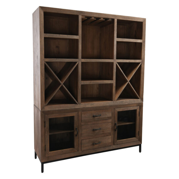 Solid wood dark brown large shelf and bar cabinet side view