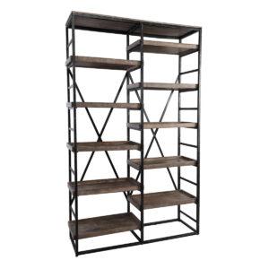 Evan Mango Wood Double Bookshelf