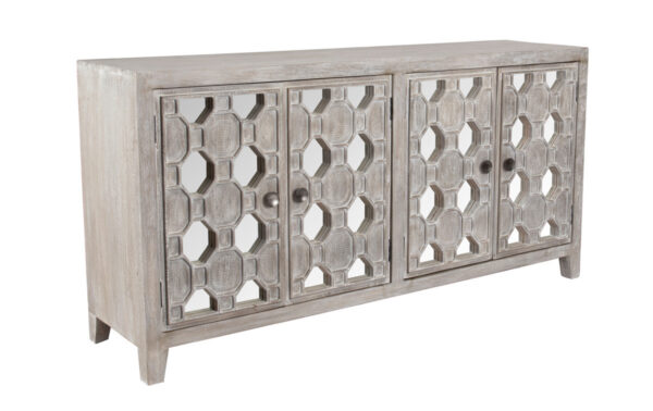 white wash wood and mirrored sideboard
