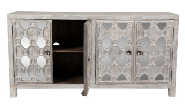 white wash wood and mirrored sideboard with open doors