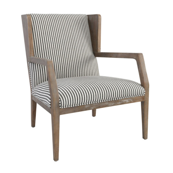 white and grey striped accent chair with wood legs