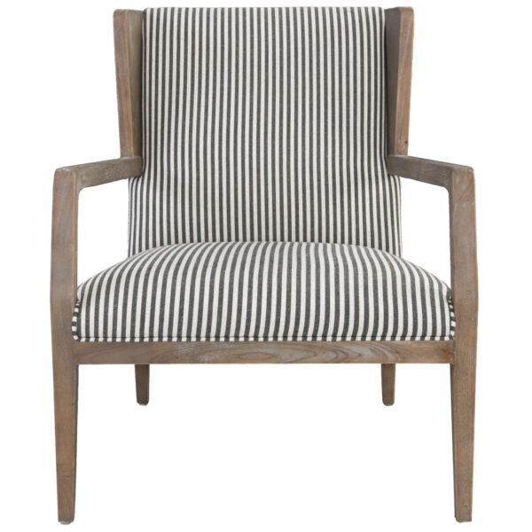 white and grey striped accent chair with wood legs front view