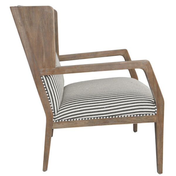 white and grey striped accent chair with wood legs side view