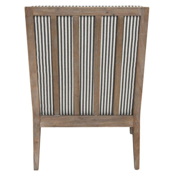 white and grey striped accent chair with wood legs back view