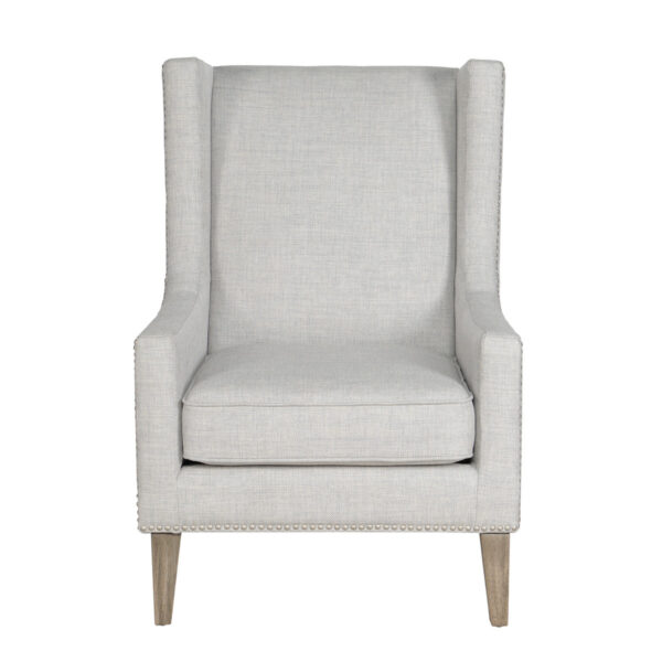 light grey accent chair front view