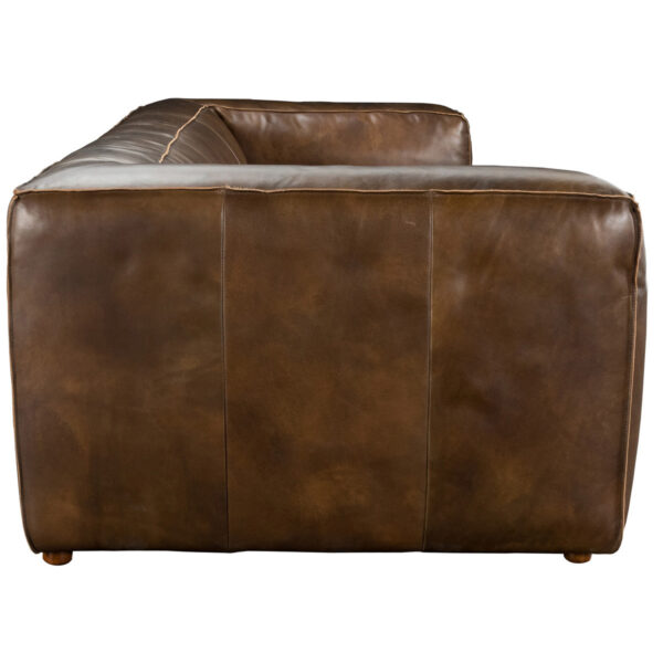 Modern leather sofa side view