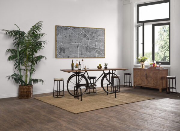 Table with bicycle base shown in living room