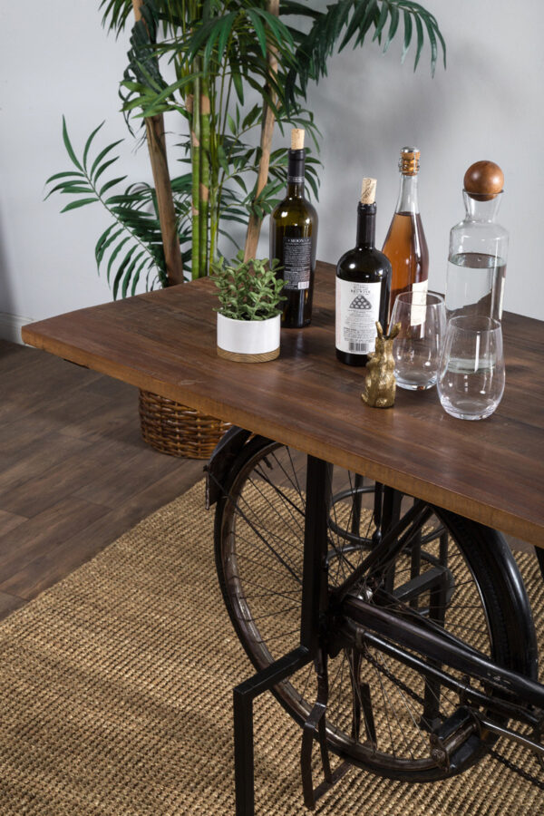 Table with bicycle base top closeup