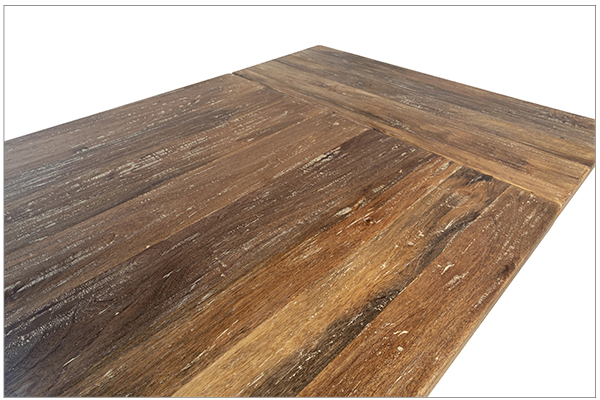 Trestle dining table with extensions top close up